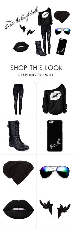 """""""Kiss Of Death"""" by musikluver00 on Polyvore featuring Refresh, ZeroUV, Lime Crime, olgafacesrok, outfit and goth"""