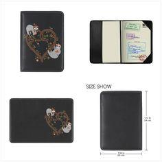 Hedgehog Drawing Flowers Leather Passport Holder Cover Case Travel One Pocket