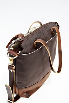 Brown waxed canvas and leather diaper bag nappy bag by ForestBags