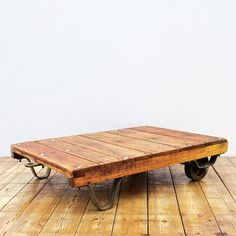 Up-recycled sofa table made from an used factory palette; 70 x 100 x 23 cm