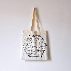 Hexagon / Organic cotton tote bag / Screen printed by oelwein