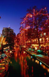 Christmas lights adorn the Riverwalk.