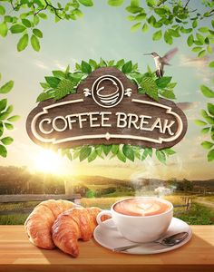 Coffee Break - La Canasta on Behance Food Graphic Design, Creative Poster Design, Ads Creative, Creative Posters, Creative Advertising, Graphic Design Posters, Ad Design, Tea Logo, Coffee Logo