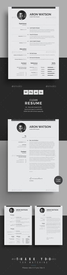 Professional & Clean Resume/CV Word Template - Resume Template Ideas of Resume Template - Professional & Clean Resume/CV Word Template Word Template, Modern Resume Template, Cover Letter Template, Resume Templates, Cv Design Template, Cv Words, Resume Words, Resume Cv, Resume Format