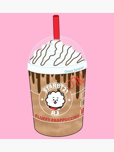 'RJ Fluffy Frappuccino Photographic Print by ChocoSenpai Bts Drawings, Kawaii Drawings, Animal Drawings, Frappuccino, V Wings, Bullet Journal Decoration, Bts Chibi, Line Friends, Aesthetic Stickers