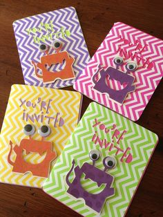 Invites at a Monster party #monster #partyinvites