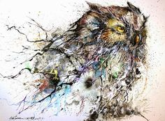 Gorgeous Owl Illustration Created with Lively Splatters of Paint →  http://www.mymodernmet.com/profiles/blogs/hua-tunan-night-owl…