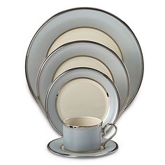Understated and elegant, the Lenox Blue Frost Dinnerware Collection pairs traditional fine ivory china with a smoky blue border for a chic, contemporary look. $120
