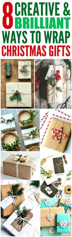 These 8 Creative Ways to wrap Christmas Presents are THE BEST! I'm so glad I found these AMAZING tips! Now I can impress friends and family with my skill! Definitely pinning!