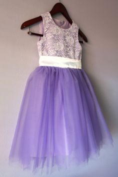 Flower Girl Lace Tutu Dress Lavender Purple by LudasBoxOfTreasures, $55.00