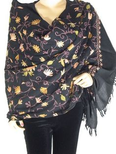 """Black Embroidered Kashmir Wrap Classic Cashmere Fashion Designer Shawl Stole NovaHaat. $90.99. Dimensions: 78"""" X 28"""". Condition: New. Embroidery is delicate & intricate.. Condition: New. Care: Dry Clean Only. wool. 100% Wool. Save 12% Off!"""