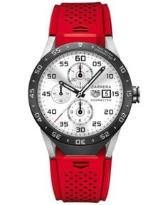 Tag Heuer Connected 1.0 Men's Carrera Red Rubber Strap Smart Watch 46mm SAR8A80.FT6057 - Red