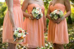 Peach Bridesmaids Dresses | photography by http://shanewelch.com | floral design by @Fleur http://fleurchicago.com/