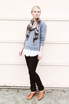 Patterned scarf, light grey pull over sweater, white button up blouse, black skinny jeans and loafers, perfect fall work outfit combo #outfit #style