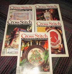 VINTAGE LOT OF 5 CROSS STITCH & COUNTRY CRAFTS MAGAZINE 1991-92, GREAT PROJECTS