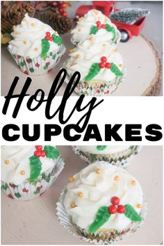 How absolutely adorable and fun are these easy holly cupcakes for Christmas? They're such an easy Christmas cupcake that you can have them decorated in about 10 minutes. Easter Cupcakes, Christmas Cupcakes, Fun Cupcakes, Christmas Treats, Christmas Decor, Cupcake Recipes, Dessert Recipes, Desserts, Beautiful Cupcakes