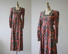 vintage 1970s dress / 70s young edwardian maxi dress / pheasant dress / 1970s maxi dress / sz small / hippie boho festival dress