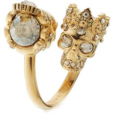 Alexander McQueen Embellished Ring ($170) ❤ liked on Polyvore featuring jewelry, rings, gold, alexander mcqueen jewelry, cocktail rings, alexander mcqueen, gold tone jewelry and skull jewelry