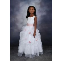 Flower Girl Dress style 415 by Sweetie Pie Collection has a peau satin bodice with full organza pickup skirt. Detachable sash and detachable snap on rosets which are offered in over 24 color combinations to match any Bridal Party. www.SweetiePieCollection.com  #Flowergirl #Wedding