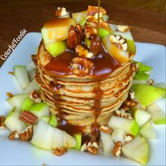 Oatmeal almond pancakes topped with pears and sea salt caramel which ...