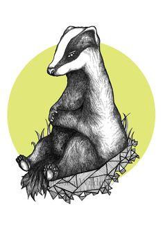Badger Hand Drawn Art Print -  Pen & Ink Illustration