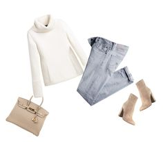 """""""Cream, Tan & Light Denim"""" by jaycee0220 ❤ liked on Polyvore featuring Hermès, White House Black Market, AG Adriano Goldschmied and Gianvito Rossi"""