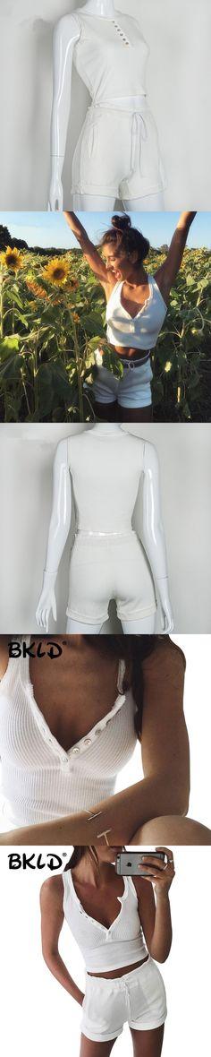 BKLD Sexy 2 Piece Set Women White Cami Crop Tops Short Sets For Women 2017 Summer Slim Casual Tracksuit Women 2 Pieces Set