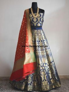 Banarasee/Banarasi Handwoven Art Silk Unstitched Lehenga & Blouse Fabric-Deep Blue