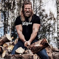 """Side note: His caption for this picture is literally """"Hit the gym? You mean chopping wood?""""  According to Lasse, most of the feedback the Viking prince lieutenant receives from adoring fans basically boils down to: """"They want to marry me or ask me to make them pregnant."""" Subtle!"""