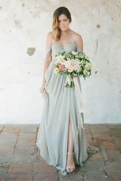 Slip Long Chiffon Off-shoulder A-line bridesmaid Dress with Sweetheart Neckline CHBD-31006