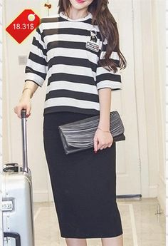 Stylish Half Sleeve Round Neck Striped Top  High-Waisted Skirt Twinset