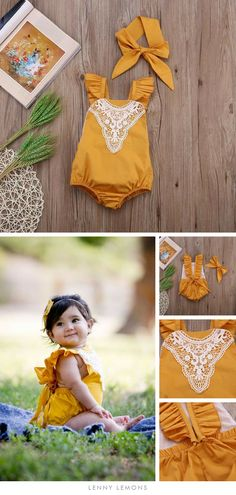 The right outfit for a 1 year photo shoot. Beautiful tie back romper in mustard color. Perfect to layer or wear solo/ Trendy + classy style. Comes with matching head tie headband. Lenny Lemons, Fashion for babies and kids. #LennyLemons #Fashionforkids #babies #beautiful #cute #lace #Babyoutfit