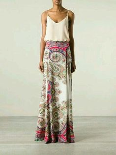 Women's fashion | Loose white cami with patterned maxi skirt