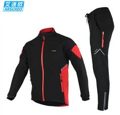 ARSUXEO MTB Thermal Cycling Jacket Winter Warm Up Bicycle Sets Clothing Windproof Waterproof Soft Coat