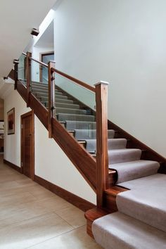 It's not hard to see why glass staircases, in particular glazed side panels, have become so popular in recent times. Loft Staircase, Stair Banister, Stair Railing Design, Staircase Makeover, Banisters, Staircases, Railings, Traditional Staircase, Glass Stairs