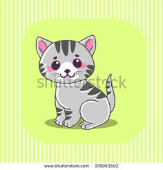 Cute cat. Little cute kitten. Tiny kitten. Gray cat. Cat sitting. Gray striped cat. Cute Cat Characters. The concept of children's and educational books. Vector Illustration.