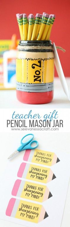 Pencil Mason Jar Back to School Teacher Appreciation Gift Idea with FREE Printable Pencil Tags