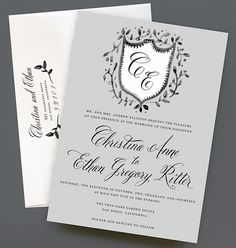 Watercolor Crest Wedding Invitation with Hand-painted Heraldry, Leaf Crest by Leveret Paperie