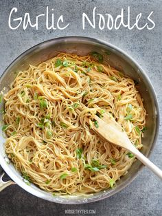 These are SO good! I (Jessie) actually made them and highly recommend. Garlic Noodles - BudgetBytes.com