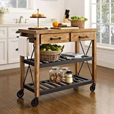 Shop Crosley Furniture Crosley Roots Rack Industrial Kitchen Cart at Lowe's Canada. Find our selection of kitchen islands & carts at the lowest price guaranteed with price match. Kitchen Island Trolley, Kitchen Island On Wheels, Kitchen Islands, Island Bar, Island Bench, Island Table, Kitchen Trolley Design, Small Portable Kitchen Island, Block Island