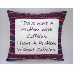 Funny Cross Stitch Pillow, Cross Stitch Quote, Purple Pillow, Caffeine ...