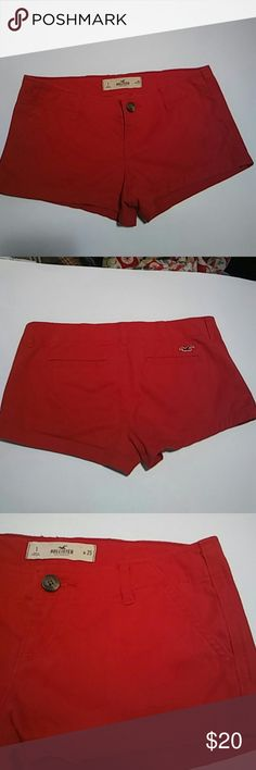 Red Hollister short shorts Woman's red Hollister short shorts. Super cute, size w25 Hollister Shorts