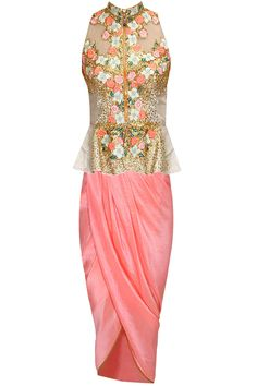 Silver silk floral thread embroidered and gold coin peplum jacket with salmon pink dhoti style wrap available only at Pernia's Pop-Up Shop.