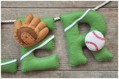 Felt name banner baseball nursery decor by DreamCreates on Etsy
