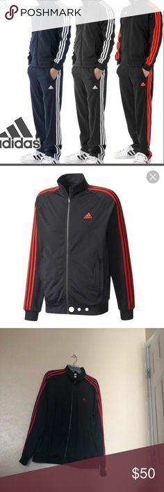 Men's Adidas Athletic Track Suit 2 Piece Sz XL Men's adidas black and red stripe tracksuit. Top & bottoms both have pockets.  In great preowned condition, worn twice. See pics for detail. adidas Pants Sweatpants & Joggers