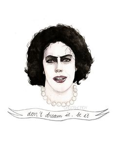 OhGoshCindy Rocky Horror Show, Rocky Horror Picture Show, Movie Quotes, Tim Curry, Visual Diary, Watercolor Portraits, Movie Tv, Illustration Art, Drawings