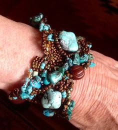 Chunky turquoise and brown free form peyote bracelet by JudesArt