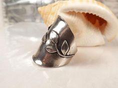 Or Paz Sterling Silver 925 Leaf Vine Sculpted Branch Knuckle Size 8 Israel Ring #OrPaz #Knuckle