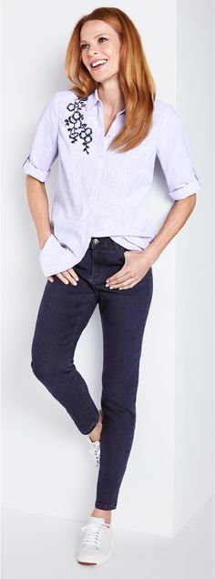 Buy Mint Velvet Broderie Shirt, Ivory from our Women's Shirts & Tops range at John Lewis & Partners. Jeans And Heals, Embroidered Blouse, Shirt Blouses, Women's Shirts, New Wardrobe, Clothes For Women, My Style, Ivory, Casual