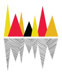 Bold Graphic Geometric Wall Decor - Mountain Reflection Art Print - Black, Red, Orange, Yellow - 8x10. $20.00, via Etsy.